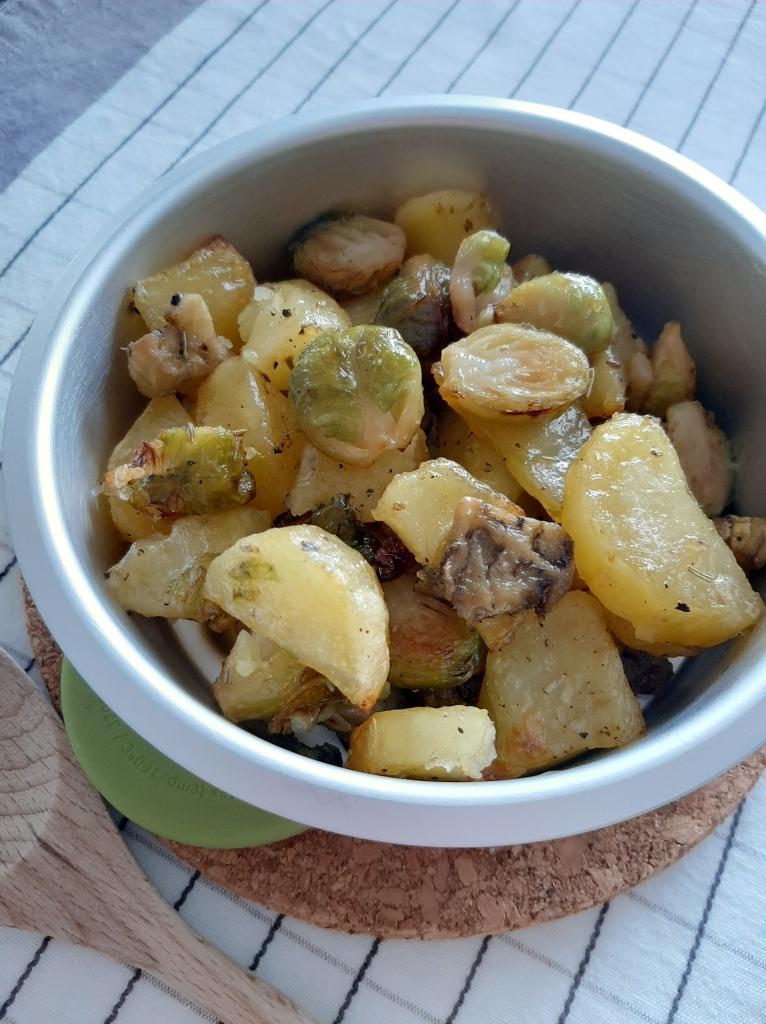 cavoletti di bruxelles, patate e melanzane al forno / non solo tofu